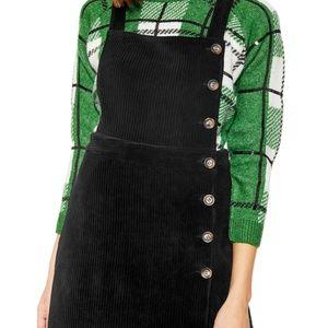 Topshop Black Corduroy Overall Dress